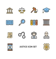 Justice Color Icon Set vector image