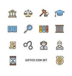 Justice color icon set vector