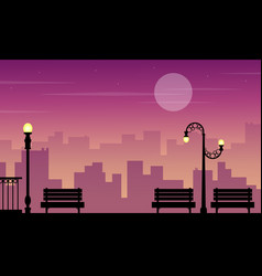 Landscape of chair lamp on street silhouettes vector