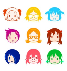 Little girl head icons vector image