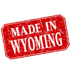 Made in wyoming red square grunge stamp vector