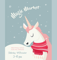 Magical unicorn at winter scine merry christmas vector