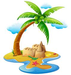 Ocean scene with sandcastle on island vector