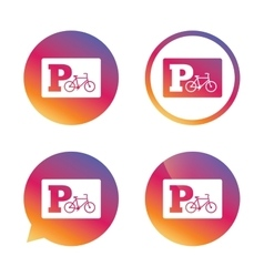Parking sign icon Bicycle parking symbol vector image vector image