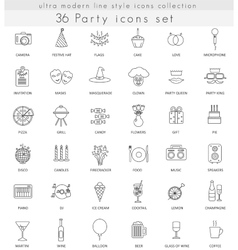 Party ultra modern outline line icons for vector image