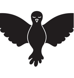 pigeon peace front view on monochrome silhouette vector image vector image