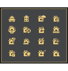 Property insurance icons vector image vector image