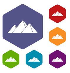 Pyramids in giza icons set hexagon vector