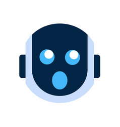 Robot face icon shocked face emotion robotic emoji vector