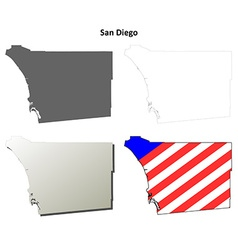 San diego county california outline map set vector