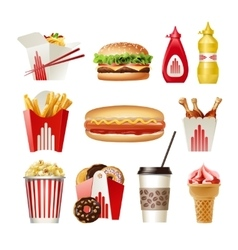 Set beautiful cartoon icons of fast food vector image vector image