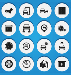 set of 16 editable car icons includes symbols vector image