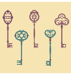 set of cute vintage keys vector image
