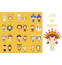 Set of different colorful cartoon kids characters vector image vector image