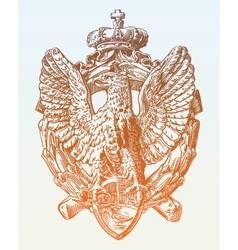 Sketch digital drawing of heraldic sculpture eagle vector