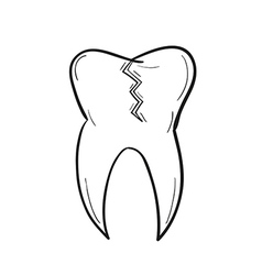 sketch of the tooth with defect vector image