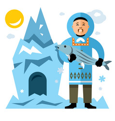 smiling eskimo with fish flat style vector image