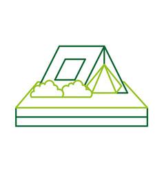 touristic camping tent bushes campsite vector image