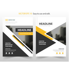 Yello black abstract annual report brochure design vector