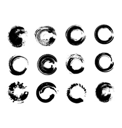 Set of black grunge circle stains vector