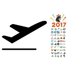 Departure icon with 2017 year bonus pictograms vector