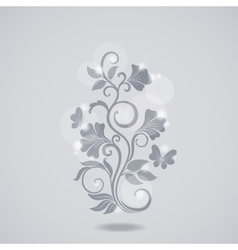 Grayscale floral element vector image