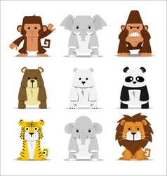 Cute mammals set vector