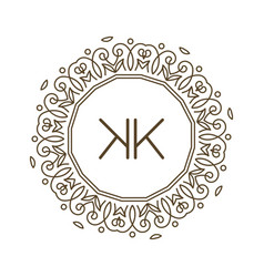 monogram k logo and text badge emblem line art vector image