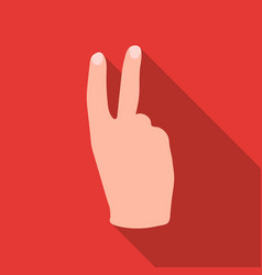 victory sign icon in flat style isolated on white vector image