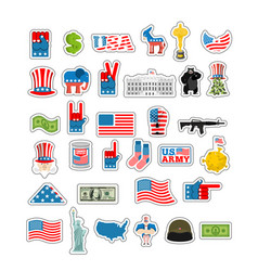 Usa sticker set national sign of america american vector