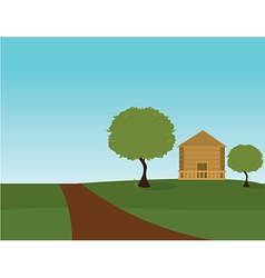Outdoor house scene vector