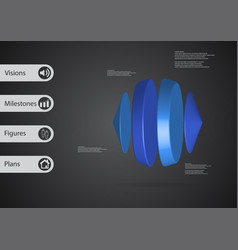 3d infographic template with two cones and two vector