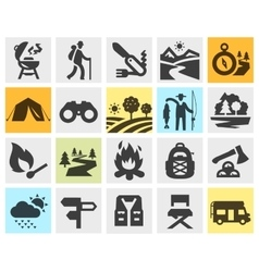 Hiking black icons set trip walking tour or vector