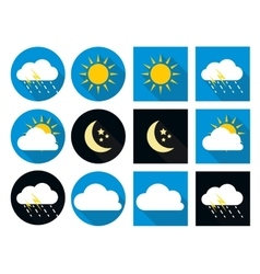 Weather icons with sun cloud rain and moon in vector