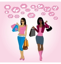 Shopping girls and icons vector