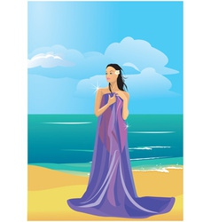Wrapped in a towel on beach vector