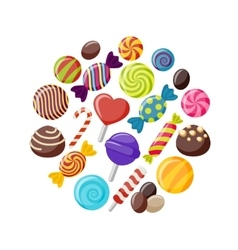 Sweet candies flat icons set vector