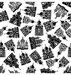 Seamless churches temples cathedrals pattern vector