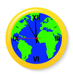 a clock with a world map on the dial vector image