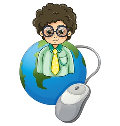 A globe with a curly-haired man wearing an vector image