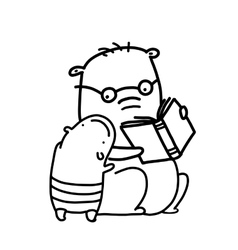 Bears reading a book outline coloring page vector image vector image