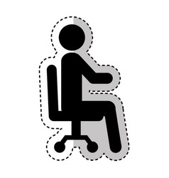 businessman silhouette sitting in office chair vector image