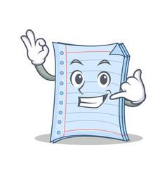 Call me notebook character cartoon design vector