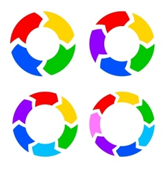 Color circle arrows set vector image