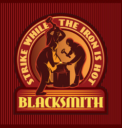 Color emblem in retro style with three blacksmith vector