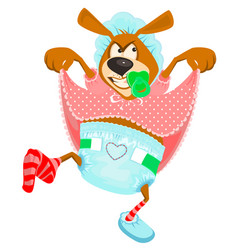dissatisfied funny dog in diaper vector image vector image
