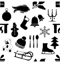 Doodle seamless christmas pattern vector
