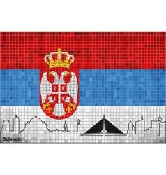 Flag of Serbia with Belgrade motive inside vector image