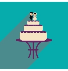 Flat web icon with long shadow wedding cake vector