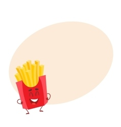 Funny french fries fast food kids menu character vector image